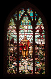 stained glass window with jesus poster
