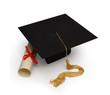 mortar board & diploma on white - 1248309