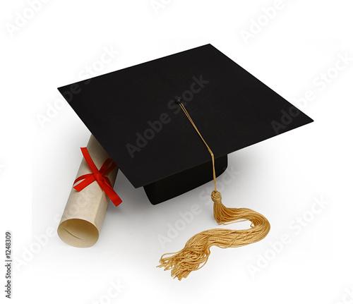 mortar board & diploma on white - 1248309