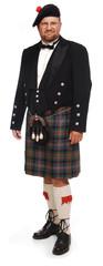 highlander in kilt on white