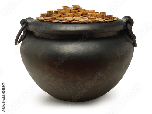 iron kettle filled with gold