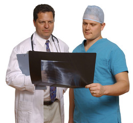 doctor and surgeon holding x-ray