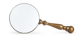 antique magnifying glass on white background poster