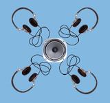 modern headphones poster