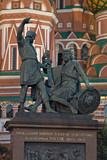 statue of kuzma minin and dmitry pozharsky in moscow, russia poster