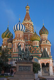 st. basil cathedral in moscow in the evening. poster