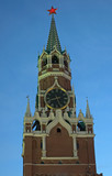 saviour tower of the kremlin with chiming clock  in moscow, russ poster