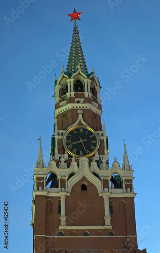 poster of saviour tower of the kremlin with chiming clock  in moscow, russ