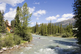 panorama of the bow river with glacial water poster