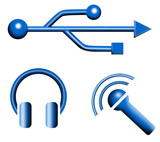 usb microphone earphones icon poster