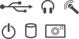 icon usb earphones microphone camera power poster