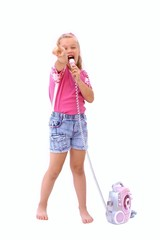 girl singing with microphone and player