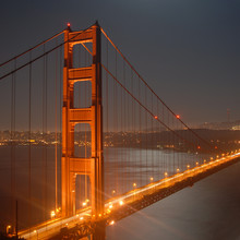 golden gate by night from marin headlands