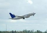 boeing 737 passenger jet taking off poster