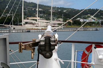 cannon aimed at a yacht