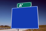 brand new highway sign and a brilliant blue sky. poster