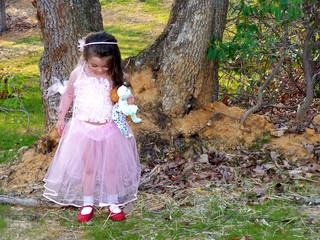 princess girl looking at dorothy shoes