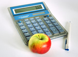 calculator with pen and apple poster