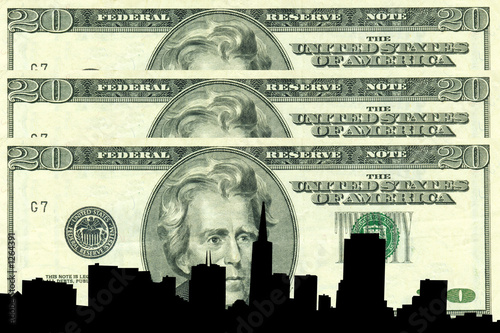 san francisco skyline against twenty dollar bill