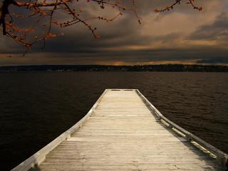 wooden pier stormy weather dock