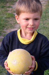 child and melon