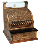 old fashioned cash register, isomorphic view poster