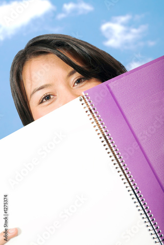 beautiful student with notebook at uni