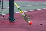 ball racquet and net poster