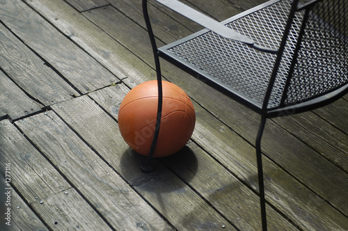 basketball on wooden deck