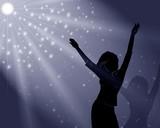 the girl dances in  misty light poster
