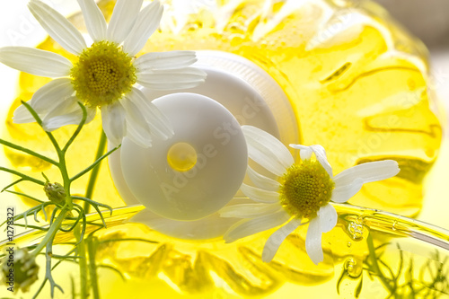 poster of foam for a bath with camomile