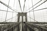 sepiatoned brooklyn bridge wide angle poster