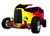 flamed hot-rod with hood open poster