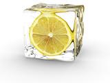 lemon in ice cube poster