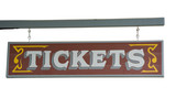"wild west signboard ""tickets"" from a ticket agency poster"