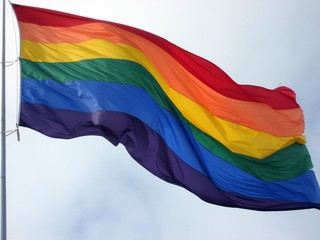 large pride flag in wind