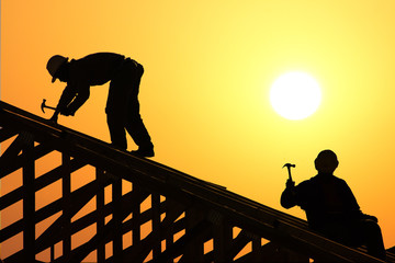 two roofer silhouette