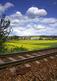 summer countryside with railway poster