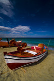 summer seaview with a boat at olympic riviera, greece poster
