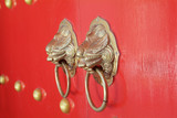 door handles at chinese temple poster