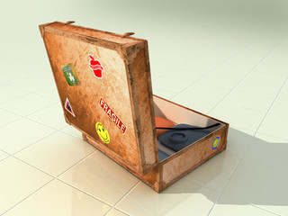 old suitcase open