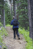 hiker with a daypack poster