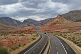 four lane desert highway poster