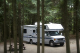 motorhome on a campground poster