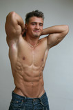 stretching muscular man poster