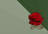 ringe und rote rose i love you poster