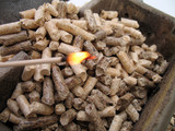 wood pellets and fire poster