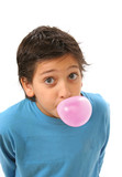 boy blowing a pink bubble gum poster