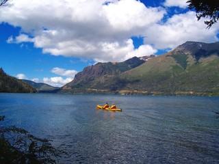 kayaking on lake