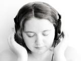 girl listening to headphones poster